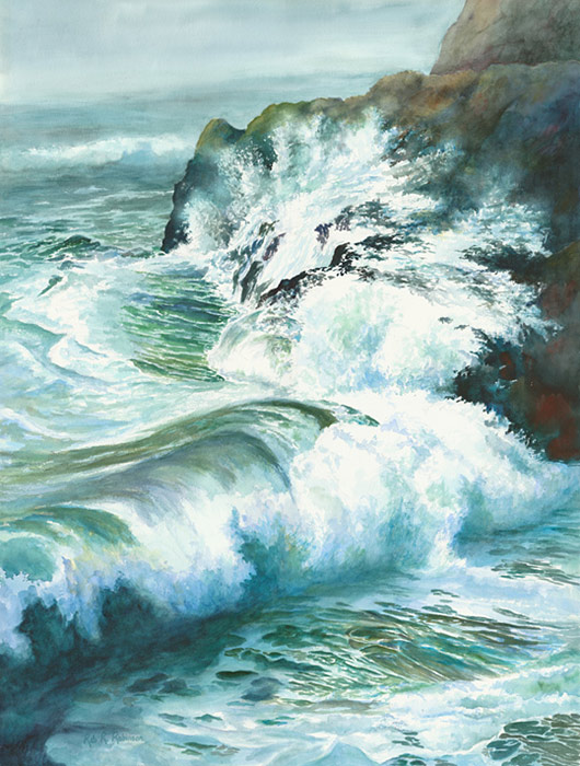 Breakers, watercolor painting