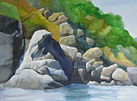 Rogue River Rocks, watercolor painting
